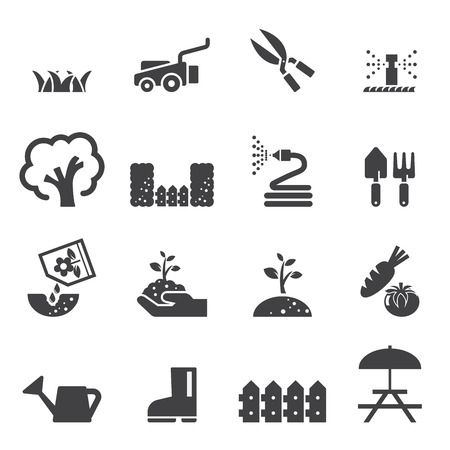 mowing the lawn: lawn icon set Illustration