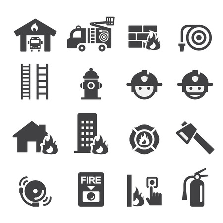 building fire: fire department icon Illustration