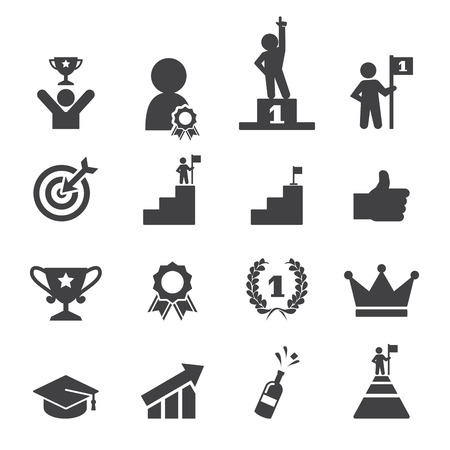 trophy winner: success icon set Illustration