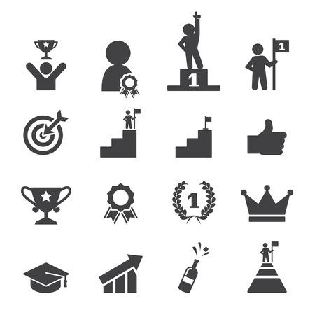 Sukces zestaw ikon Ilustracje wektorowe