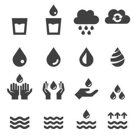 水のアイコンを設定  イラスト・ベクター素材