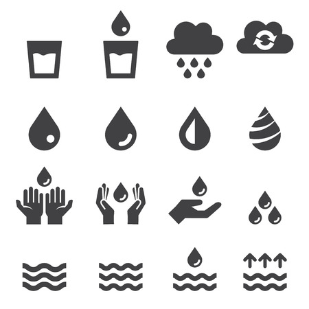 rain drop: water icon set Illustration