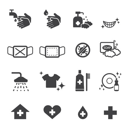 wash hands: hygiene icons set