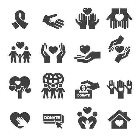 donating: Charity Silhouette icons