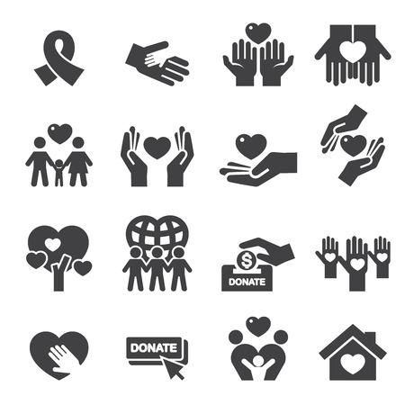 tomados de la mano: Iconos Caridad Silueta Vectores