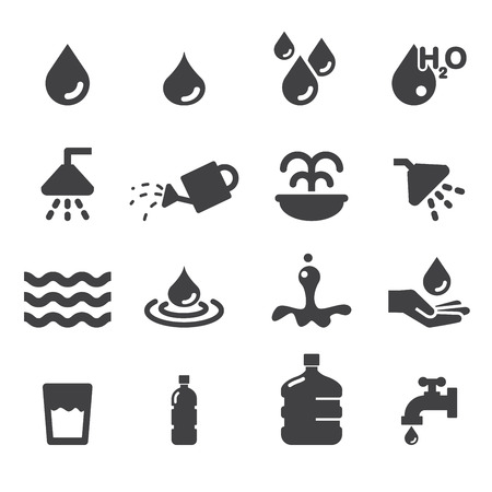 llave de agua: icono del agua ajustada Vectores
