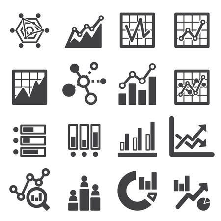 business finance: analytics icon set