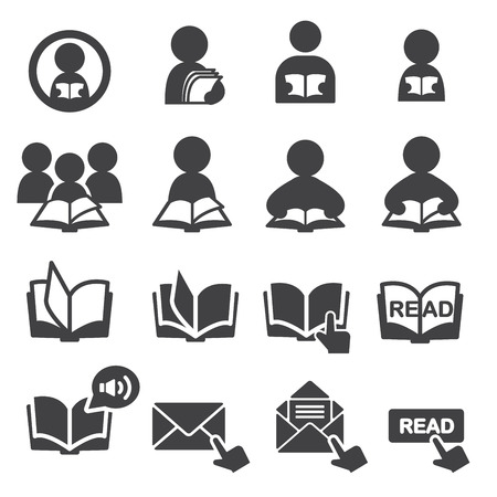 reading magazine: read icon set Illustration