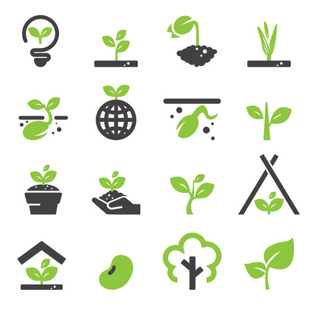 seedling growing: sprout icon set