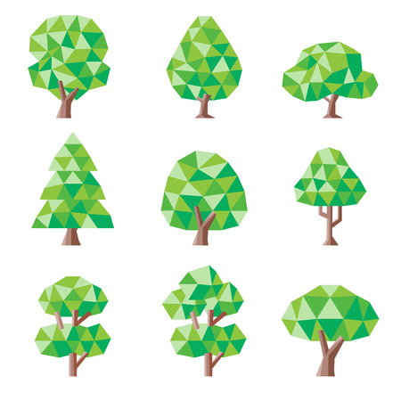 low poly tree set stock vector 41222808 - Polytree Christmas Tree