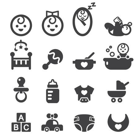 teteros: bebé conjunto de iconos Vectores