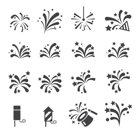 fuegos artificiales: conjunto de iconos de fuegos artificiales