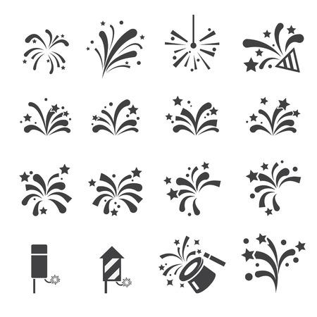 fireworks on white background: firework icon set Illustration