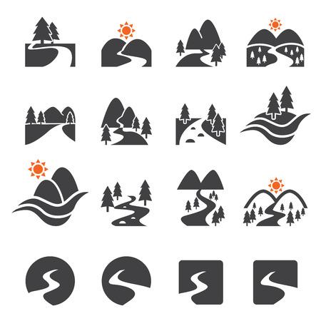 paisaje: icono río conjunto