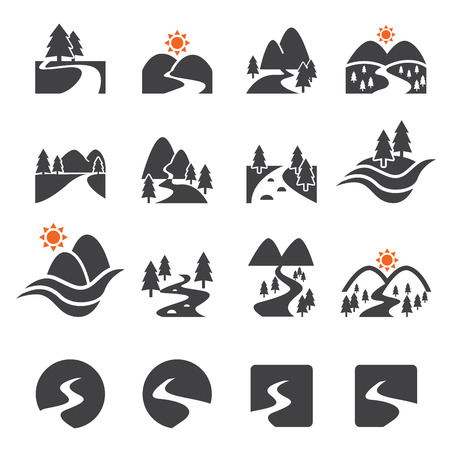 rivers mountains: river icon set