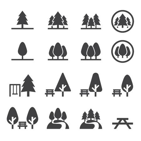 park icon set Vettoriali
