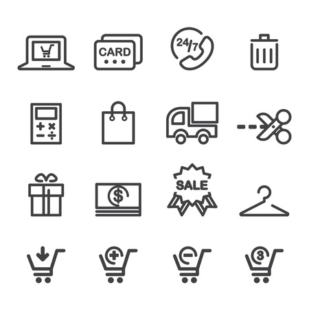 rubbish cart: shopping line icon