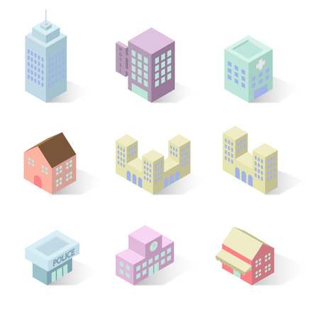 building icon: building 3d isometric Illustration