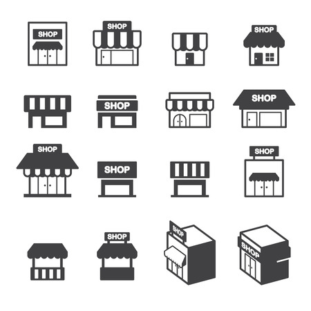 shopping store: shop building icon set