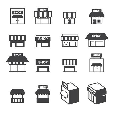 department store: shop building icon set