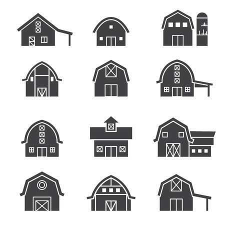 farm building: farm building icon set