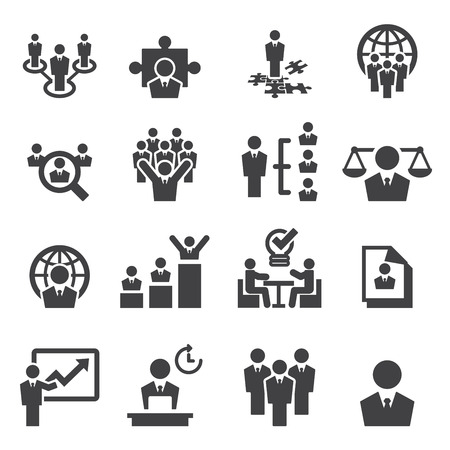 business teamwork: Human resources and management icons