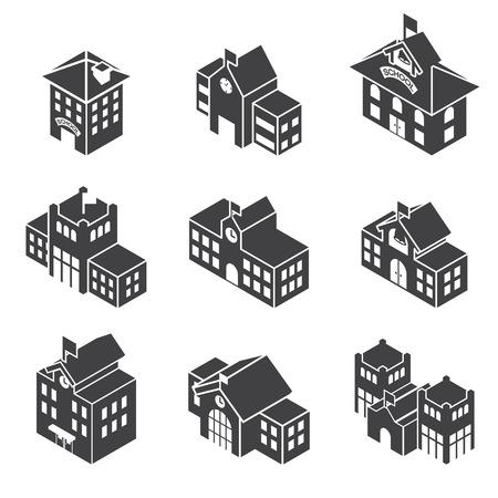 Школа: Здание школы 3d Изометрические Иллюстрация