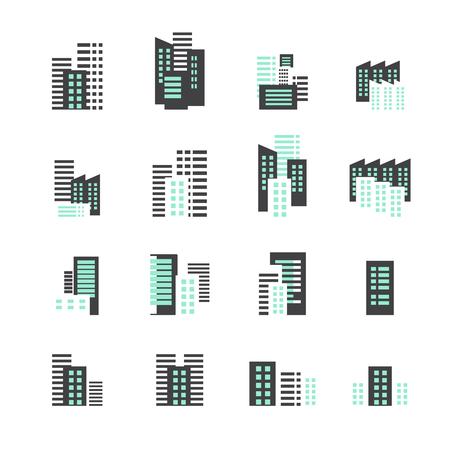 midtown: building icon set Illustration