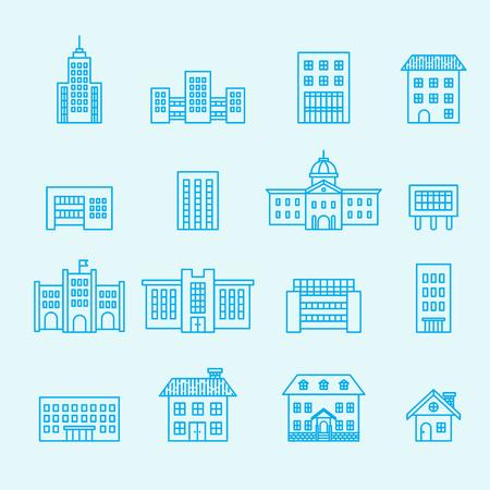 building icon: building icon set.line vector Illustration
