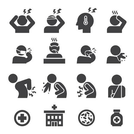 personne malade: malades, icône, ensemble
