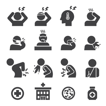 sick person: sick icon set