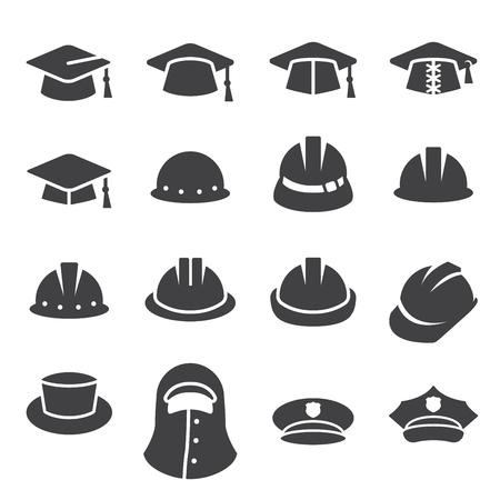 chapeau, icône, ensemble Illustration
