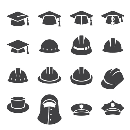 helmet: hat icon set