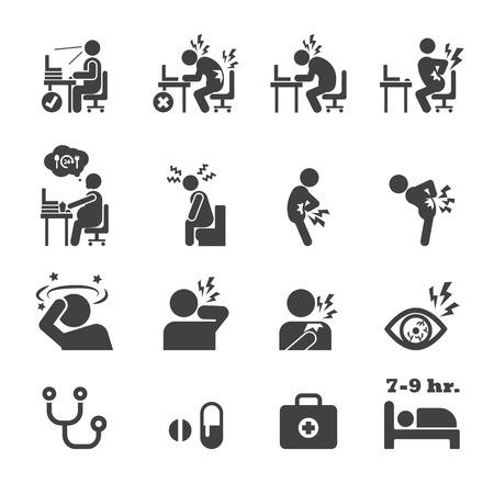 cansancio: síndrome de la oficina icono Vectores