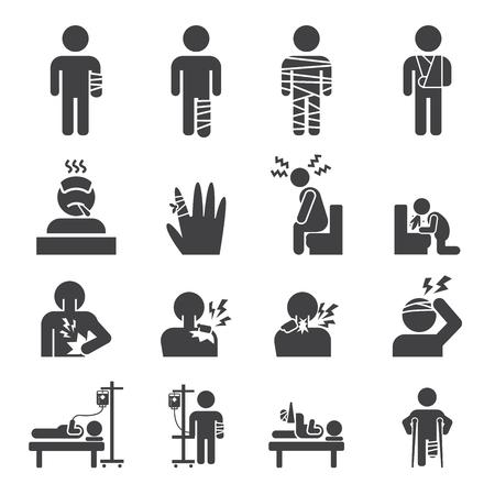 fiebre: conjunto de iconos enfermo
