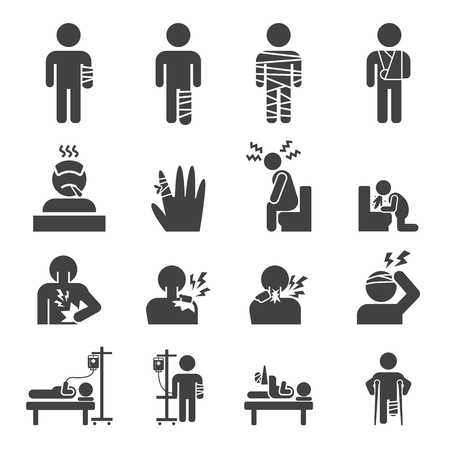 illness: sick icon set
