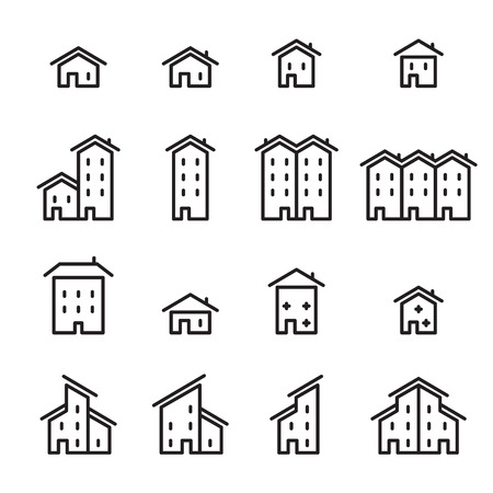 residential structure: house line icon