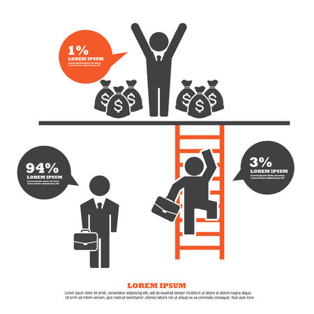 climbing ladder: infographic Template with  Businessman Climbing Ladder.