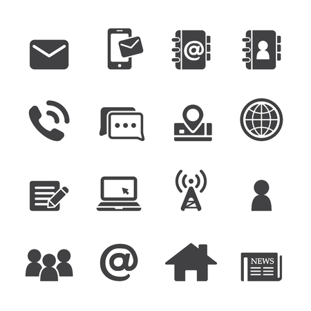 black phone and call: contact icon set