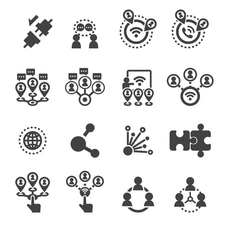 network connection: connection icon set