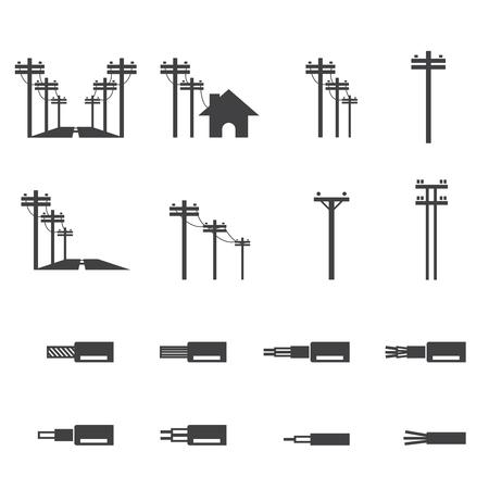 Poste de l'électricité icône Banque d'images - 47947321