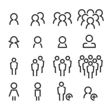 icono de la gente de línea de set