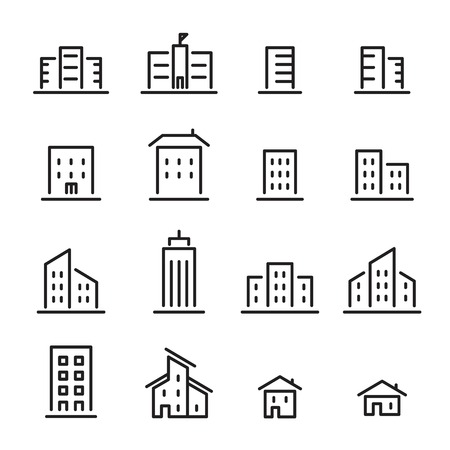 midtown: building line icon Illustration