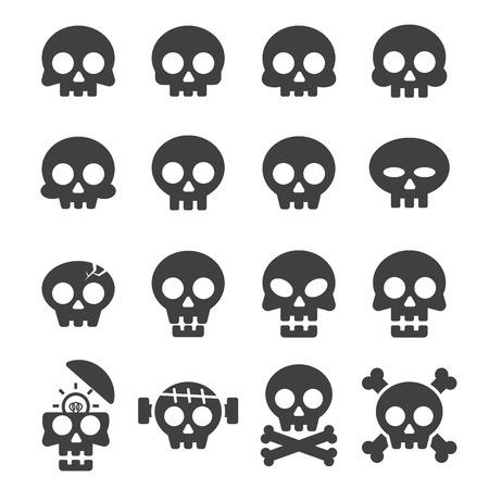 skull icon set Stock Illustratie