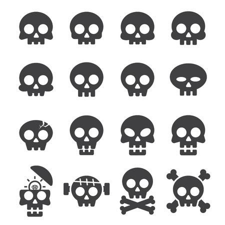 skull icon set Ilustrace