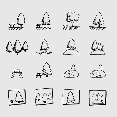 park icon: sketch park icon Illustration