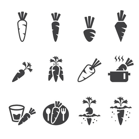 root vegetables: carrot icon set