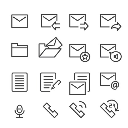 24 hr: mail and call icon. line vector