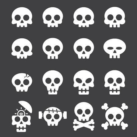 human head: skull icon set Illustration