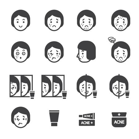 wrinkle: acne icon set
